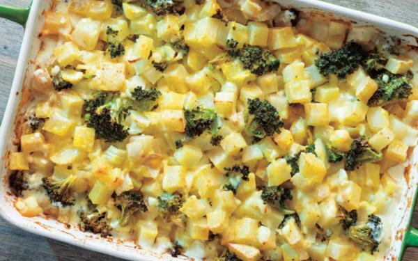 Baked Cheesy Potatoes & Broccoli