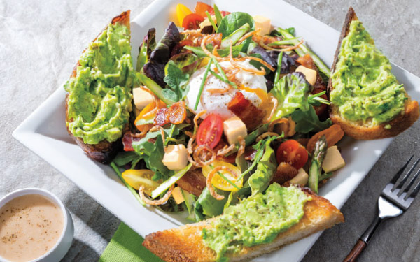 Breakfast Salad with Poached Egg and Avocado Toast