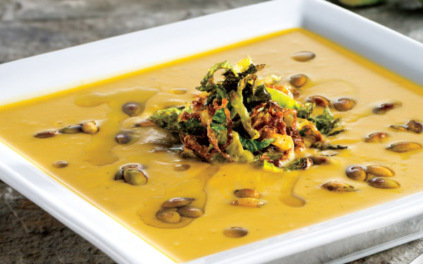 Brussels Sprouts & Sweet Potato Soup