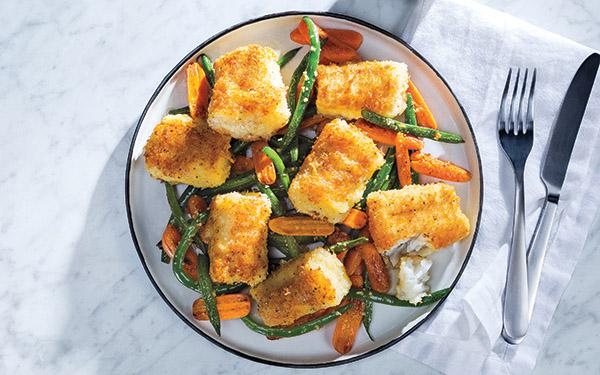 Crunchy Parmesan Cod with Garlic Roasted Veggies