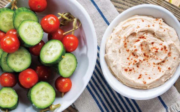 Cucumber & Cherry Tomato Kabobs with White Bean Hummus