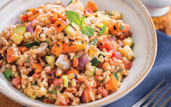 Farro & Grilled Vegetable Salad<br /> with Smoky Tahini