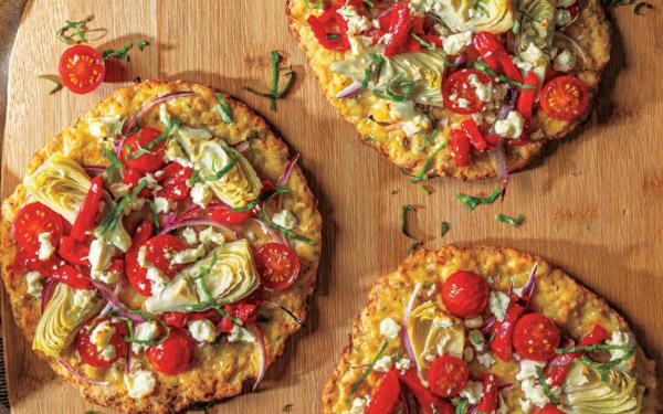 Gluten-Free Mini Mediterranean Cauliflower Crust Pizzas