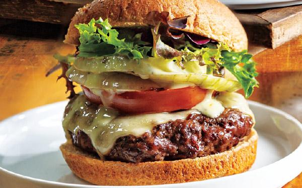 Grilled Onion, Tomato & Swiss Burger