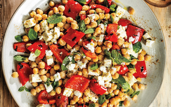 Grilled Red Pepper & Garbanzo Bean Salad