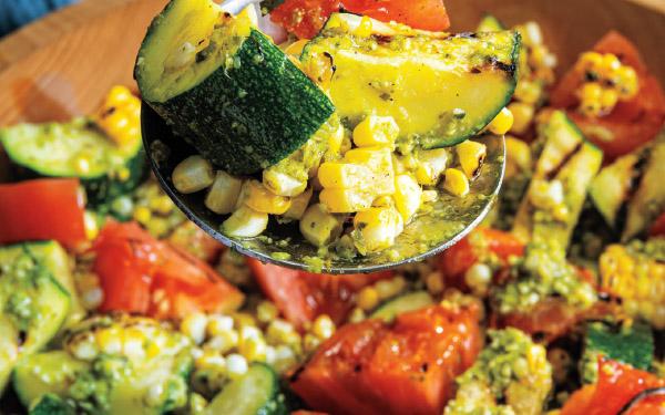 Grilled Summer Veggie Pesto Salad
