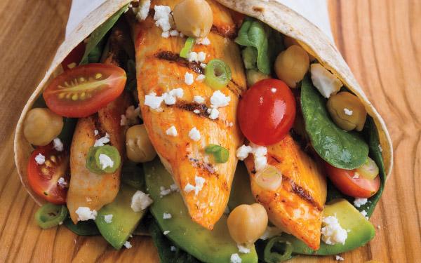 Grilled Yogurt-Harissa Chicken Wraps with Tomatoes, Garbanzo Beans & Avocado