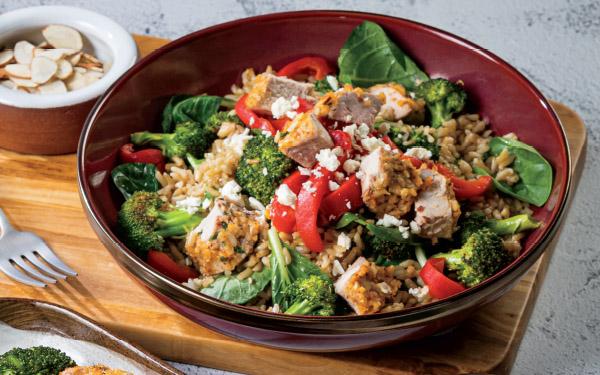 Mediterranean Grain Bowl with Almond-Crusted Pork Tenderloin