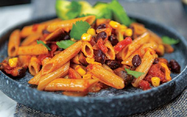 Mexican-Style Black Bean & Mushroom Penne