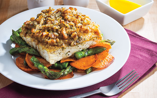One-Pan Maple-Walnut Crusted Whitefish & Vegetables