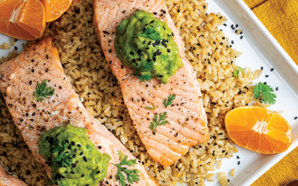 Oven-Roasted Salmon with Orange-Avocado Sauce
