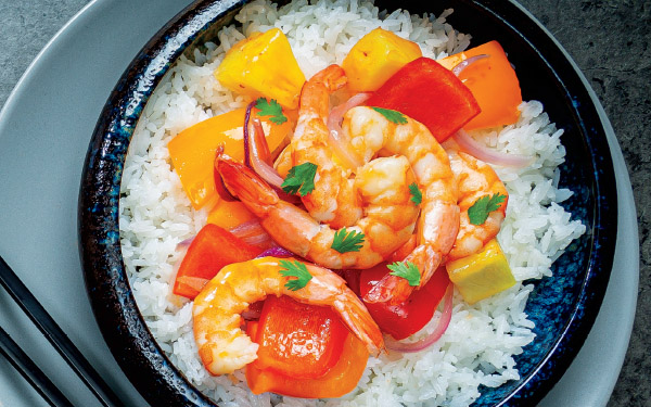 Pepper-Pineapple Shrimp with Coconut Rice