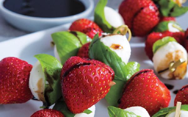 Strawberry, Basil & Mozzarella Skewers