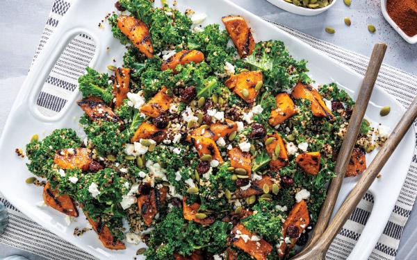 Sweet & Smoky Grilled Sweet Potato & Kale-Quinoa Salad