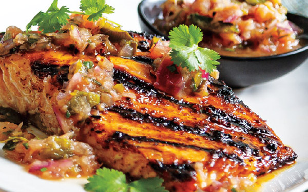 Sweet & Spicy Salmon with Grilled Pineapple and Poblano Salsa