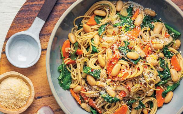 Whole-Grain Pasta with Lemony Kale & White Beans